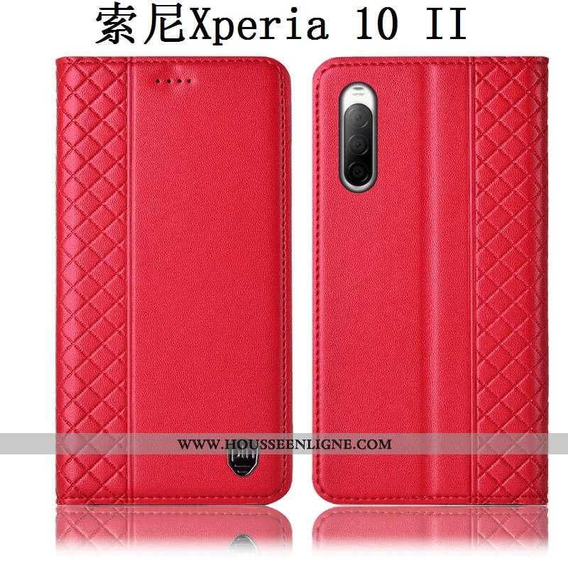 Housse Sony Xperia 10 Ii Protection Cuir Véritable Coque Téléphone Portable Incassable Rouge Étui