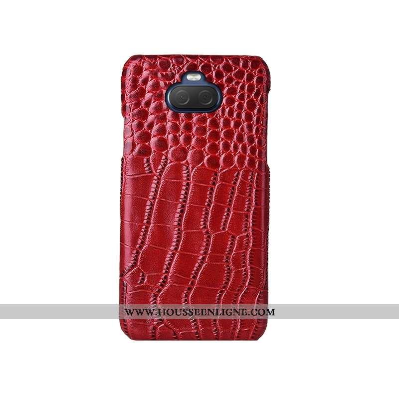 Housse Sony Xperia 10 Plus Cuir Modèle Fleurie Rouge Bovins Cuir Haut Mode Téléphone Portable