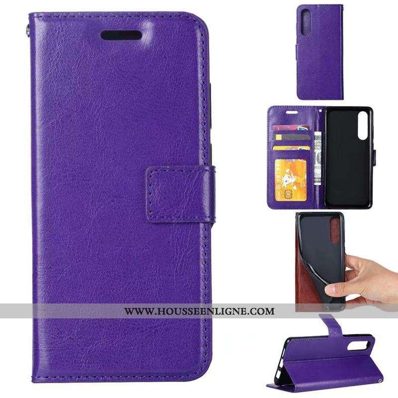 Housse Sony Xperia 5 Cuir Modèle Fleurie Violet Téléphone Portable Protection Étui Coque