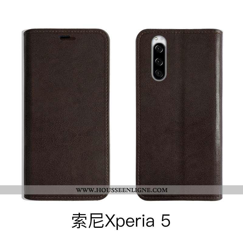 Housse Sony Xperia 5 Fluide Doux Protection Marron Téléphone Portable Coque Étui Légère