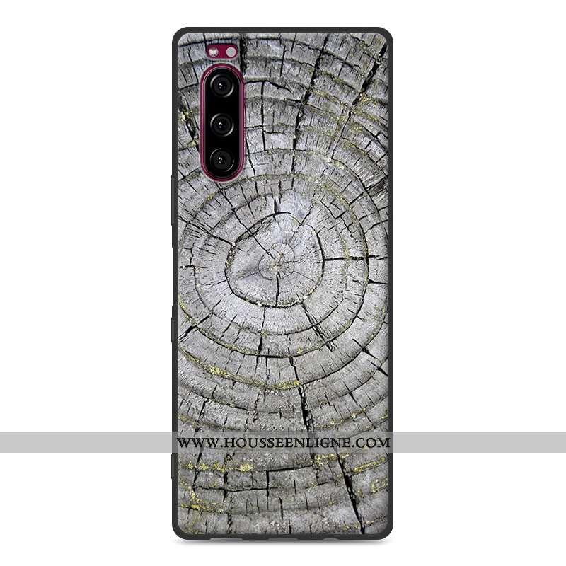 Housse Sony Xperia 5 Protection Modèle Fleurie Fluide Doux Étui Simple Gris Téléphone Portable