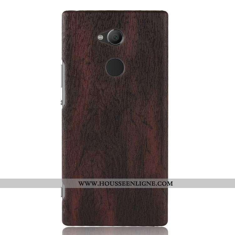 Housse Sony Xperia L2 En Bois Cuir Téléphone Portable Étui Qualité Coque Résistant À L'usure Marron