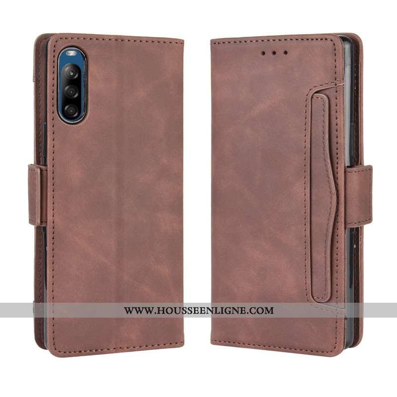 Housse Sony Xperia L4 Cuir Fluide Doux Marron Coque Téléphone Portable Portefeuille Protection