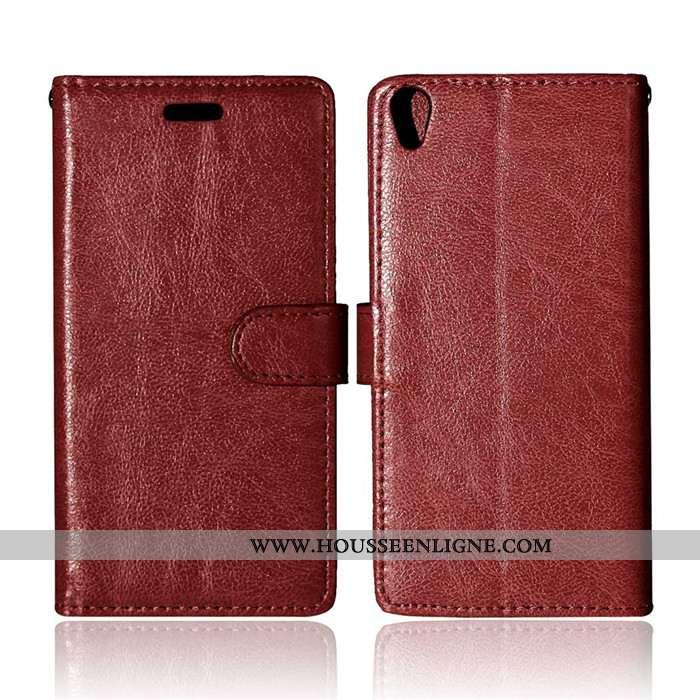 Housse Sony Xperia Xa Fluide Doux Silicone Portefeuille Coque Marron Téléphone Portable Protection