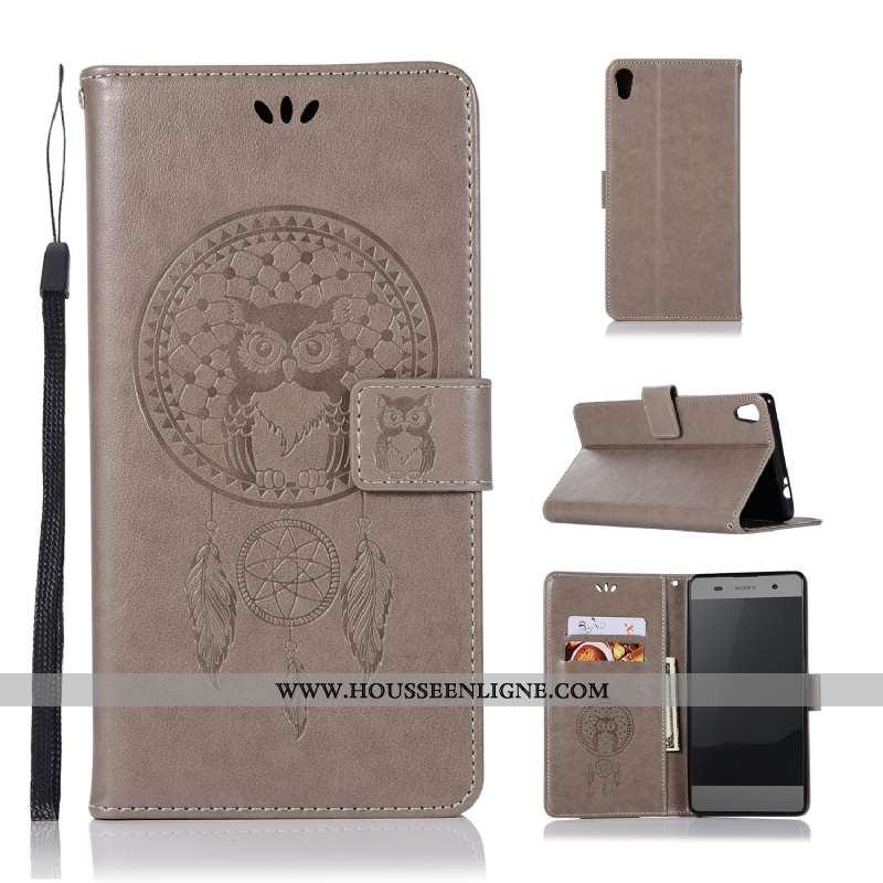Housse Sony Xperia Xa Ultra Portefeuille Cuir Téléphone Portable Gris Imprimé Étui Modèle Fleurie