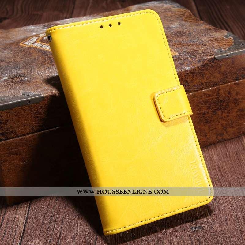 Housse Sony Xperia Xa1 Cuir Protection Portefeuille Carte Jaune Étui