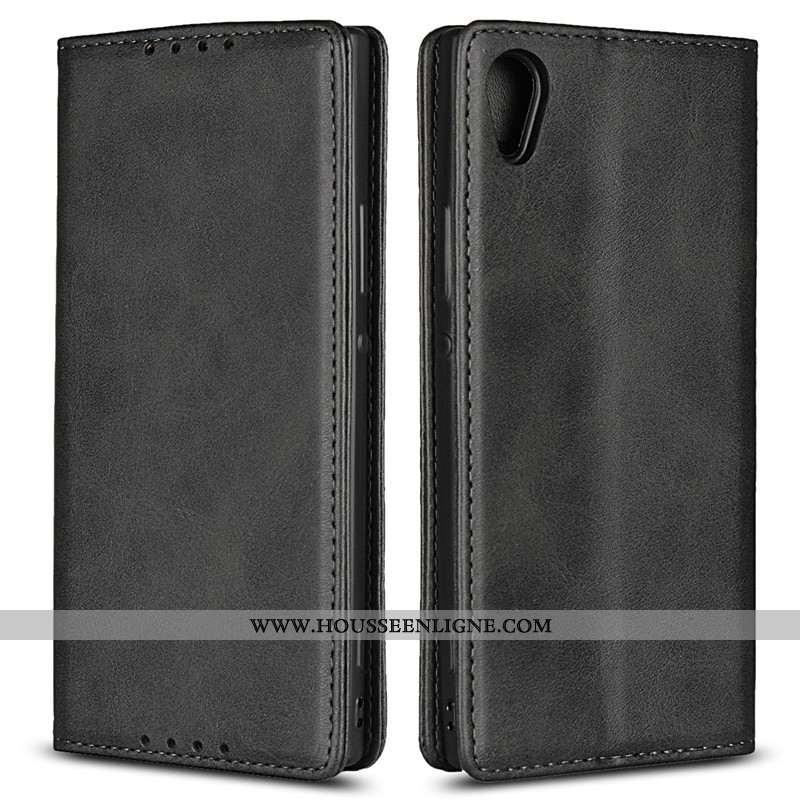 Housse Sony Xperia Xa1 Fluide Doux Protection Noir Téléphone Portable Étui Cuir Bovins