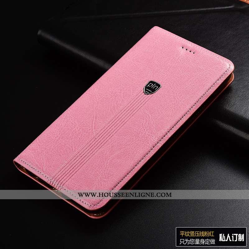 Housse Sony Xperia Xa1 Plus Cuir Véritable Cuir Rose Protection Incassable Téléphone Portable