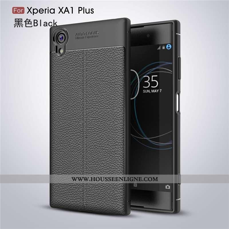 Housse Sony Xperia Xa1 Plus Personnalité Créatif Étoile Incassable Cuir Protection Business Noir