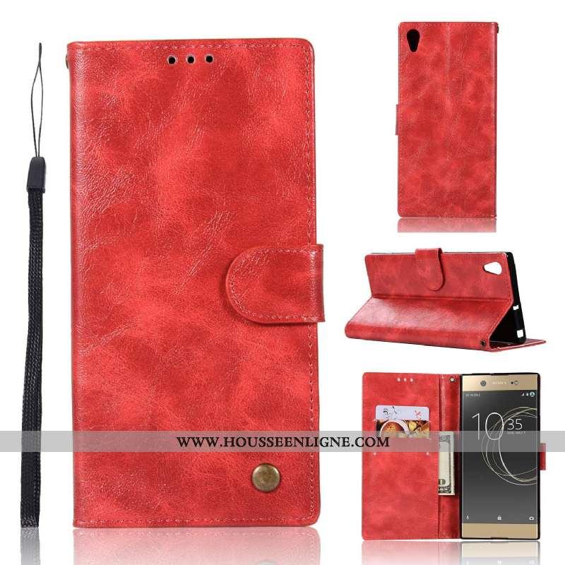 Housse Sony Xperia Xa1 Plus Protection Cuir Téléphone Portable Étui Rouge Tout Compris Coque