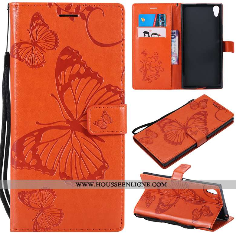 Housse Sony Xperia Xa1 Ultra Cuir Protection Tout Compris Orange Coque Incassable Clamshell