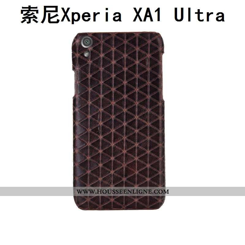Housse Sony Xperia Xa1 Ultra Cuir Véritable Protection Incassable Marron Téléphone Portable Couvercl