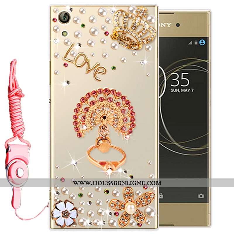 Housse Sony Xperia Xa1 Ultra Protection Fluide Doux Coque Étui Téléphone Portable Silicone Or Doré