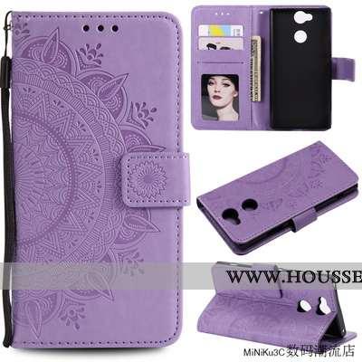 Housse Sony Xperia Xa2 Cuir Protection Étui Incassable Coque Violet Téléphone Portable