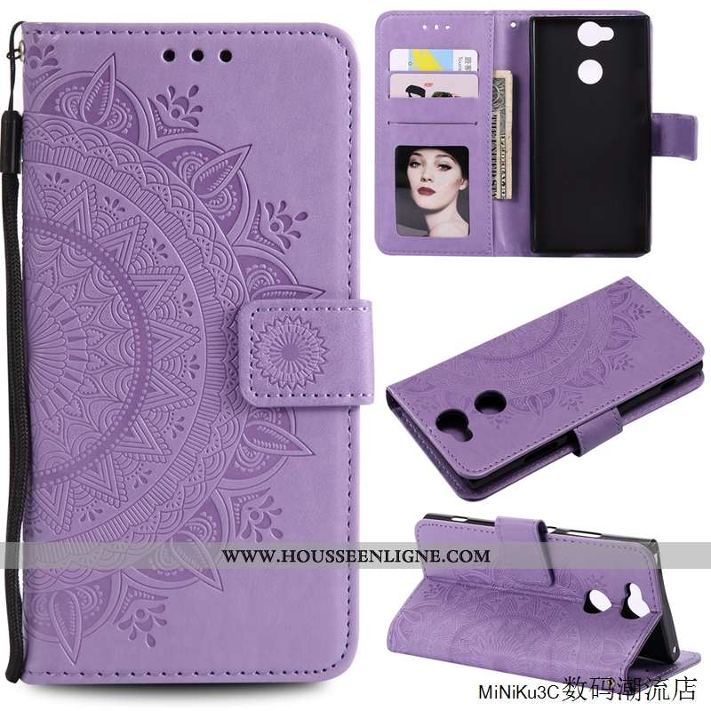 Housse Sony Xperia Xa2 Cuir Protection Téléphone Portable Incassable Carte Violet