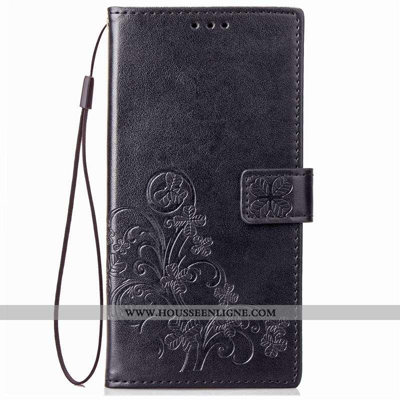 Housse Sony Xperia Xa2 Plus Cuir Protection Tendance Étui Coque Noir