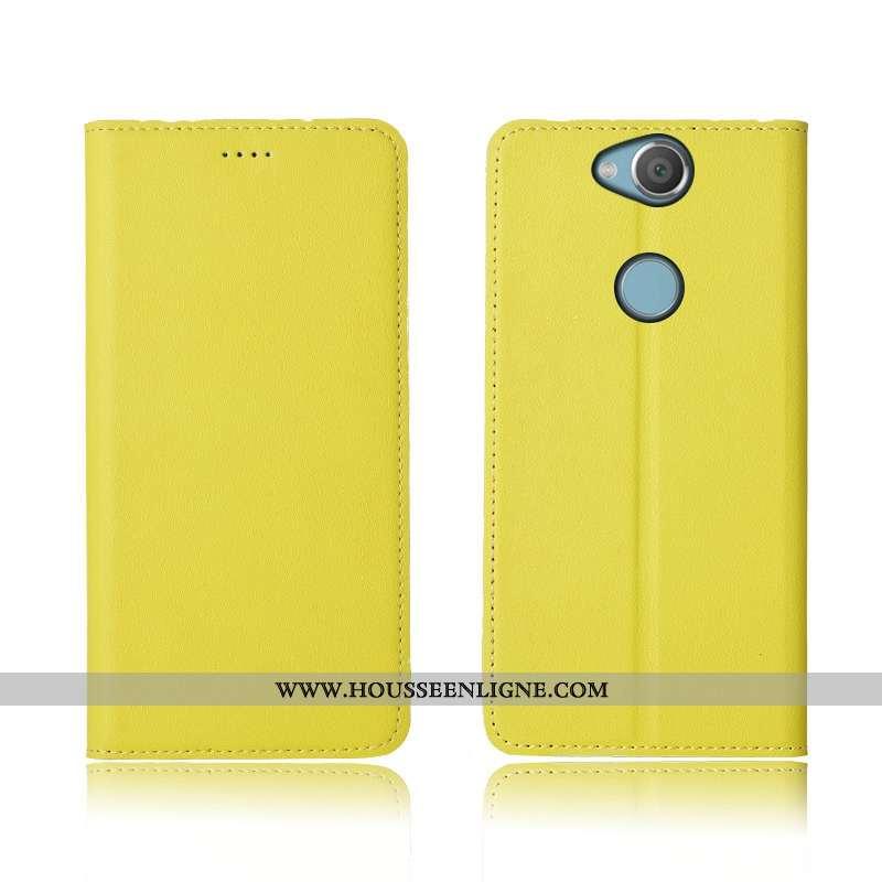 Housse Sony Xperia Xa2 Plus Cuir Véritable Cuir Clamshell Incassable Silicone Jaune Nouveau