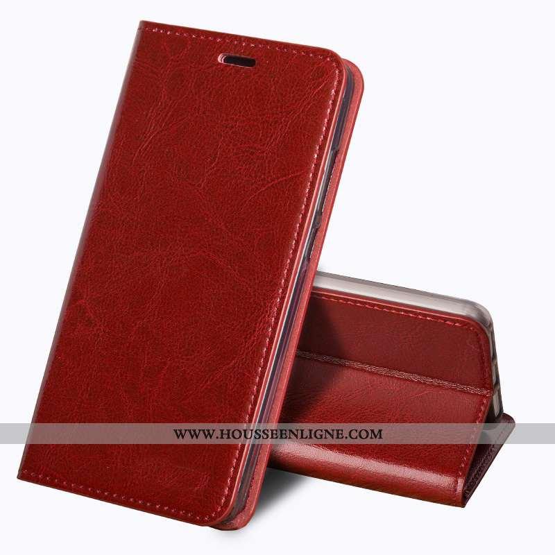Housse Sony Xperia Xa2 Protection Cuir Véritable Coque Business Fluide Doux Rouge