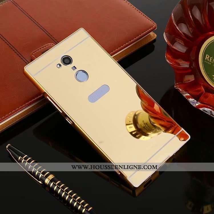 Housse Sony Xperia Xa2 Ultra Métal Protection Coque Or Border Étui Miroir Doré