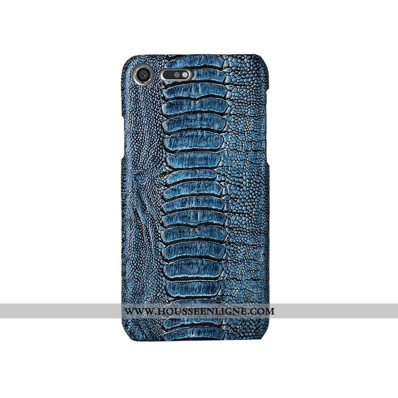 Housse Sony Xperia Xz Premium Créatif Cuir Véritable Protection Mode Coque Bleu Incassable