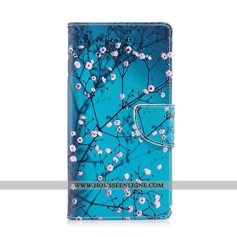 Housse Sony Xperia Xz1 Compact Cuir Protection Étui Coque Téléphone Portable Peinture Bleu