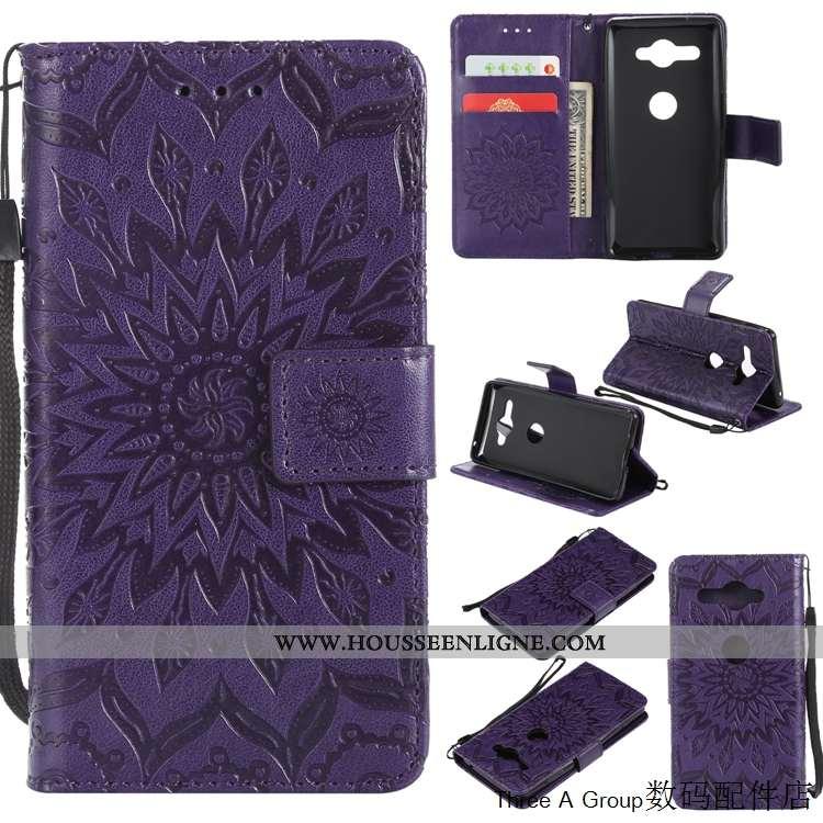 Housse Sony Xperia Xz2 Compact Protection Gaufrage Violet Tout Compris Étui Coque
