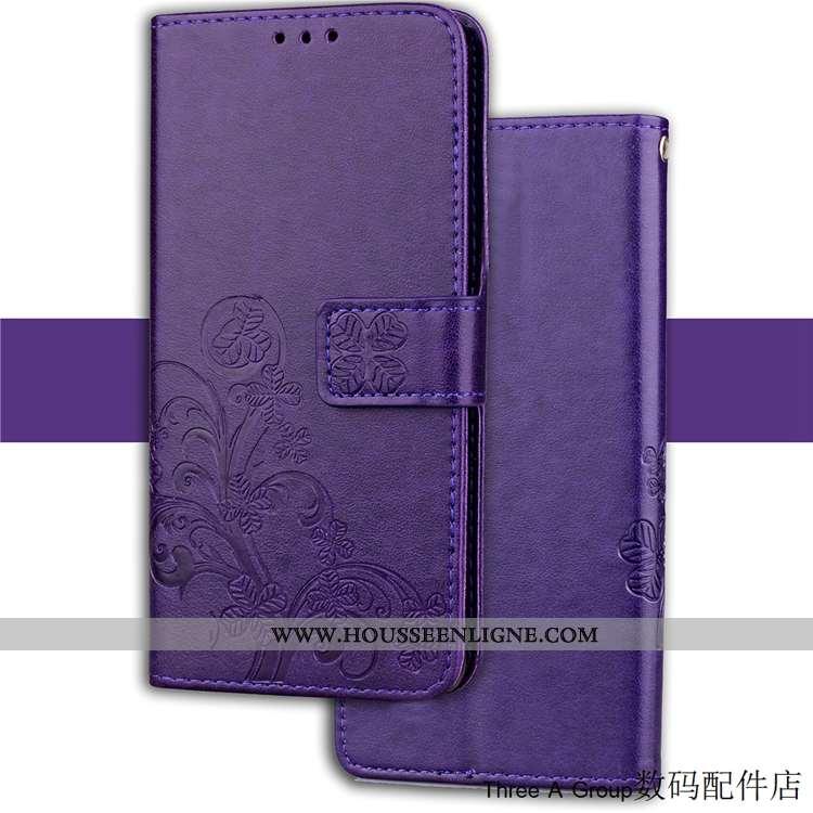Housse Sony Xperia Xz2 Compact Protection Personnalité Étui Cuir Carte Violet Coque