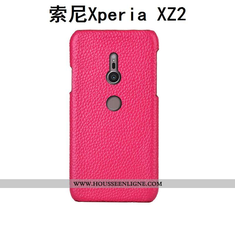 Housse Sony Xperia Xz2 Cuir Mode Rouge Étui Téléphone Portable Protection Litchi Rose