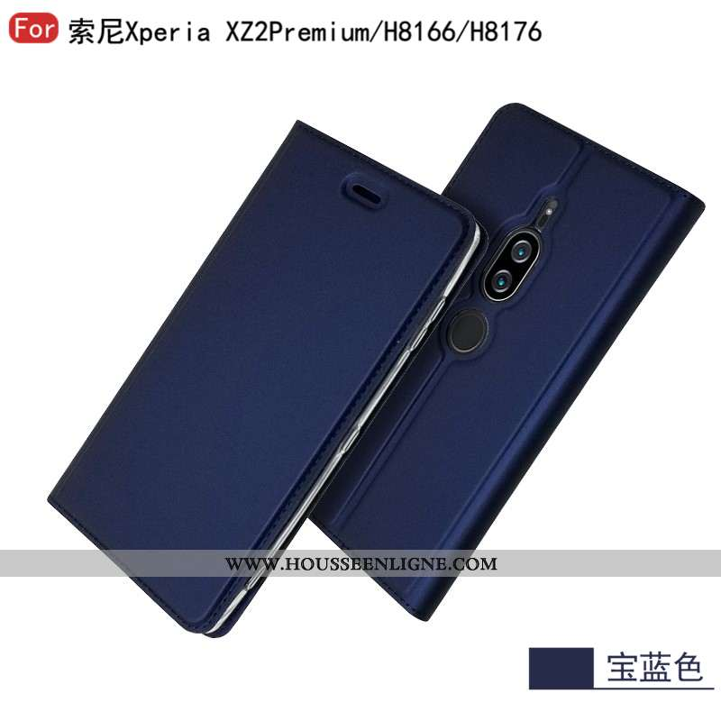 Housse Sony Xperia Xz2 Premium Cuir Mode Bleu Étoile Business Étui Coque