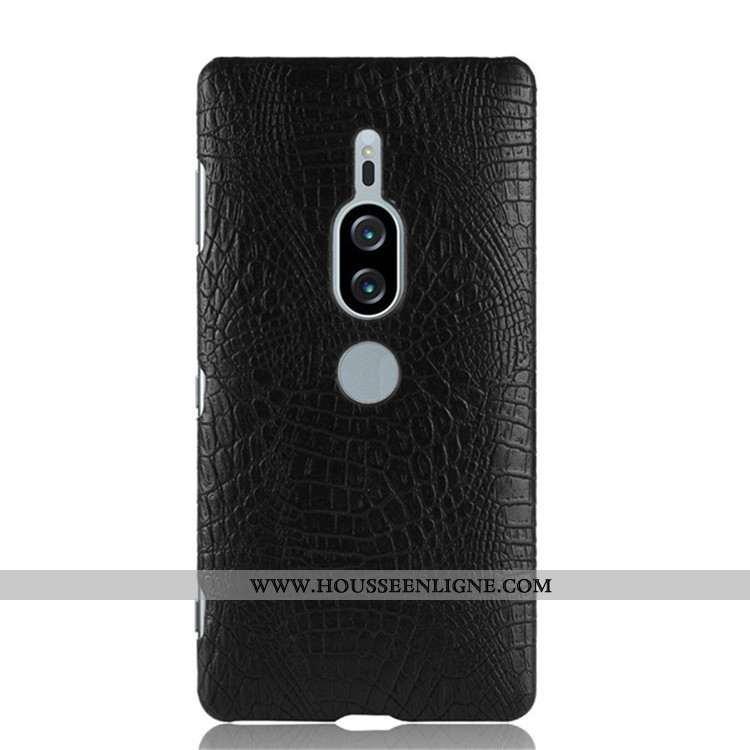 Housse Sony Xperia Xz2 Premium Modèle Fleurie Crocodile Coque Difficile Noir Téléphone Portable