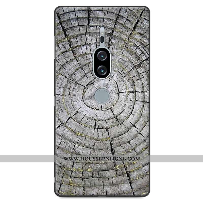 Housse Sony Xperia Xz2 Premium Modèle Fleurie Silicone Gris Personnalité Incassable En Bois Téléphon