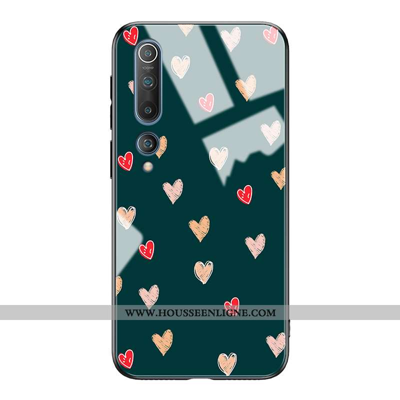 Housse Xiaomi Mi 10 Fluide Doux Silicone Amour Amoureux Personnalité Nouveau Créatif Verte