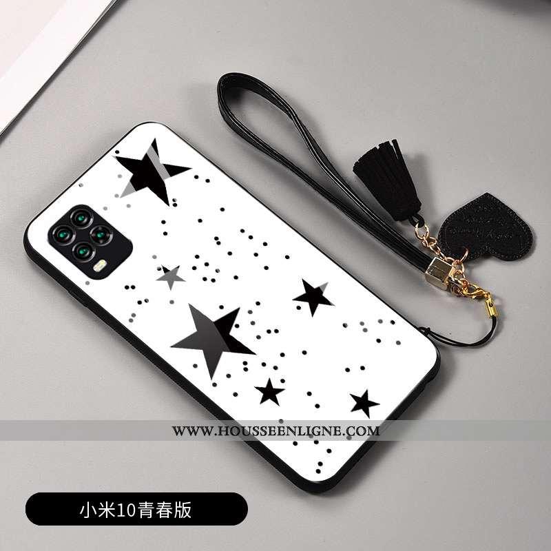 Housse Xiaomi Mi 10 Lite Créatif Charmant Difficile Protection Verre Amoureux Plaid Blanche