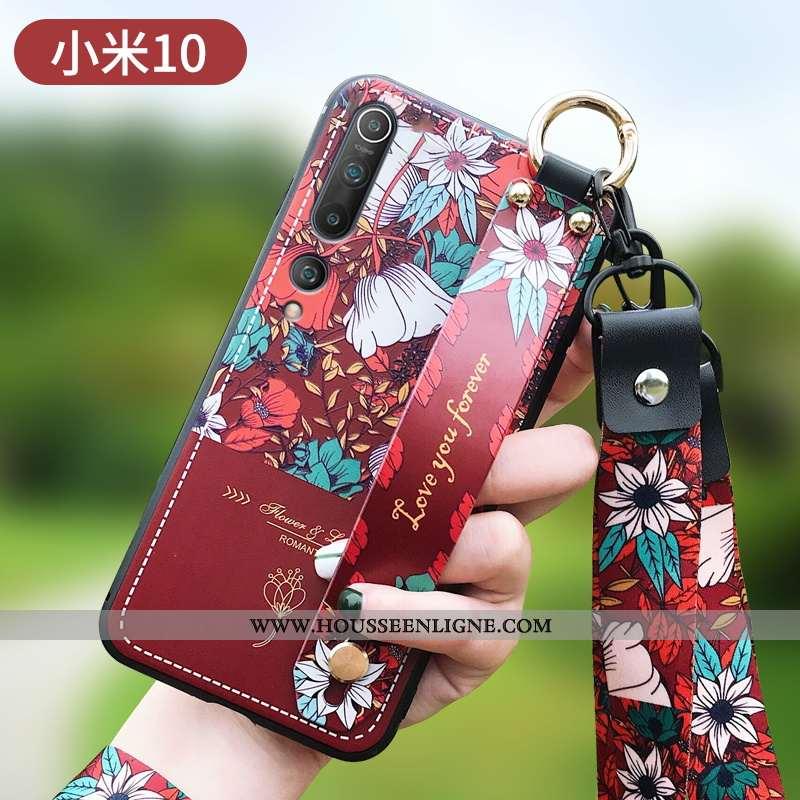 Housse Xiaomi Mi 10 Personnalité Créatif Fleur Petit Protection Net Rouge Fluide Doux