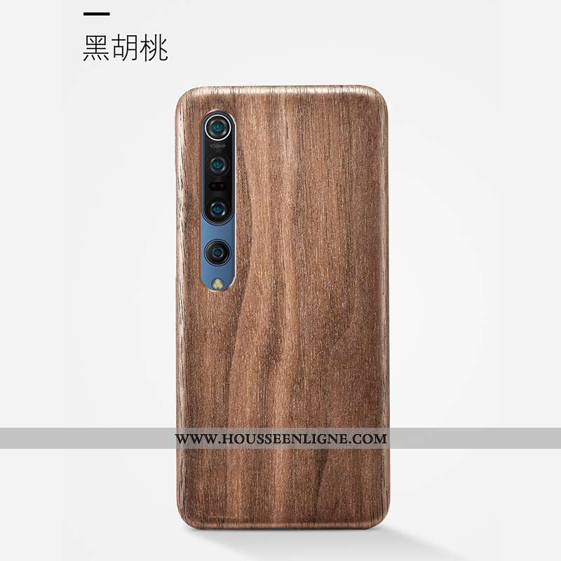 Housse Xiaomi Mi 10 Pro Délavé En Daim Ornements Suspendus Étui Antidérapant Coque Qualité En Bois M