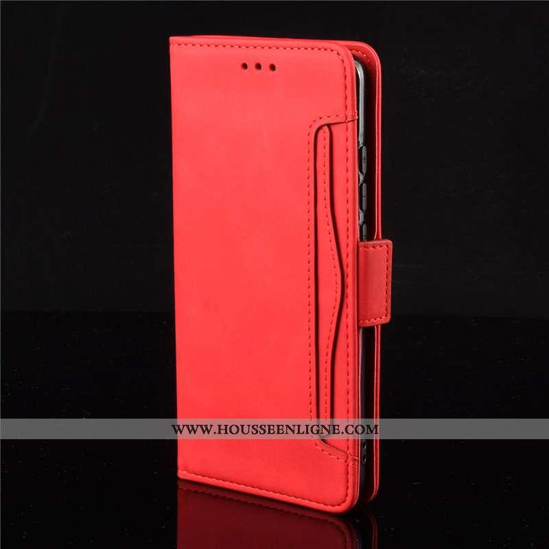 Housse Xiaomi Mi 10 Pro Protection Cuir Petit Téléphone Portable Rouge Coque Étui