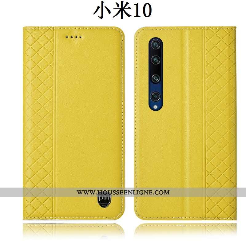 Housse Xiaomi Mi 10 Protection Cuir Véritable Incassable Coque Étui Jaune