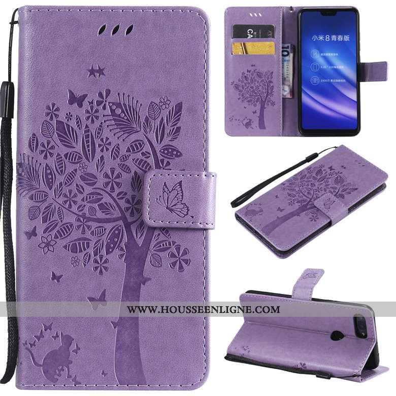 Housse Xiaomi Mi 8 Lite Cuir Protection Téléphone Portable Jeunesse Dessin Animé Clamshell Petit Vio