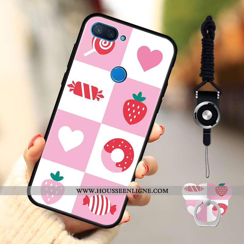 Housse Xiaomi Mi 8 Lite Dessin Animé Fluide Doux Délavé En Daim Téléphone Portable Rose Coque Petit