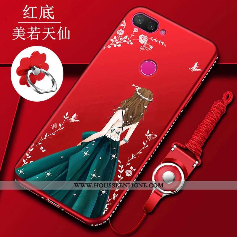 Housse Xiaomi Mi 8 Lite Fluide Doux Silicone Rouge Jeunesse Net Rouge Charmant Ornements Suspendus