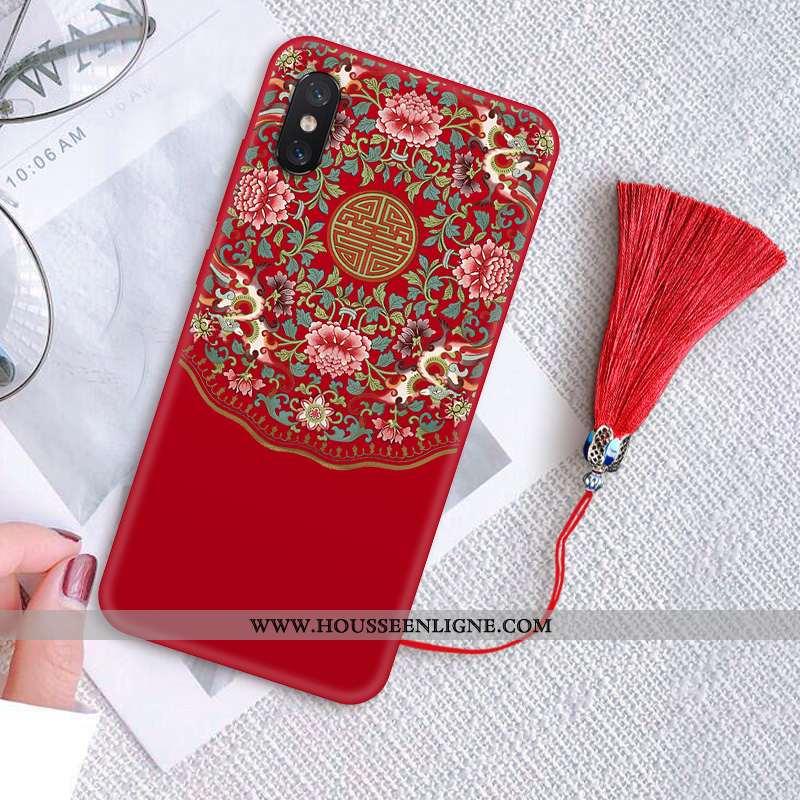 Housse Xiaomi Mi 8 Pro Créatif Vintage Palais Protection Silicone Délavé En Daim Fluide Doux Rouge