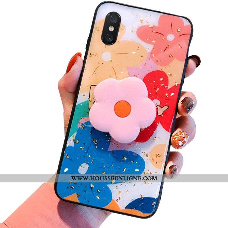 Housse Xiaomi Mi 8 Pro Modèle Fleurie Fluide Doux Délavé En Daim Multicolore Support Tout Compris Té