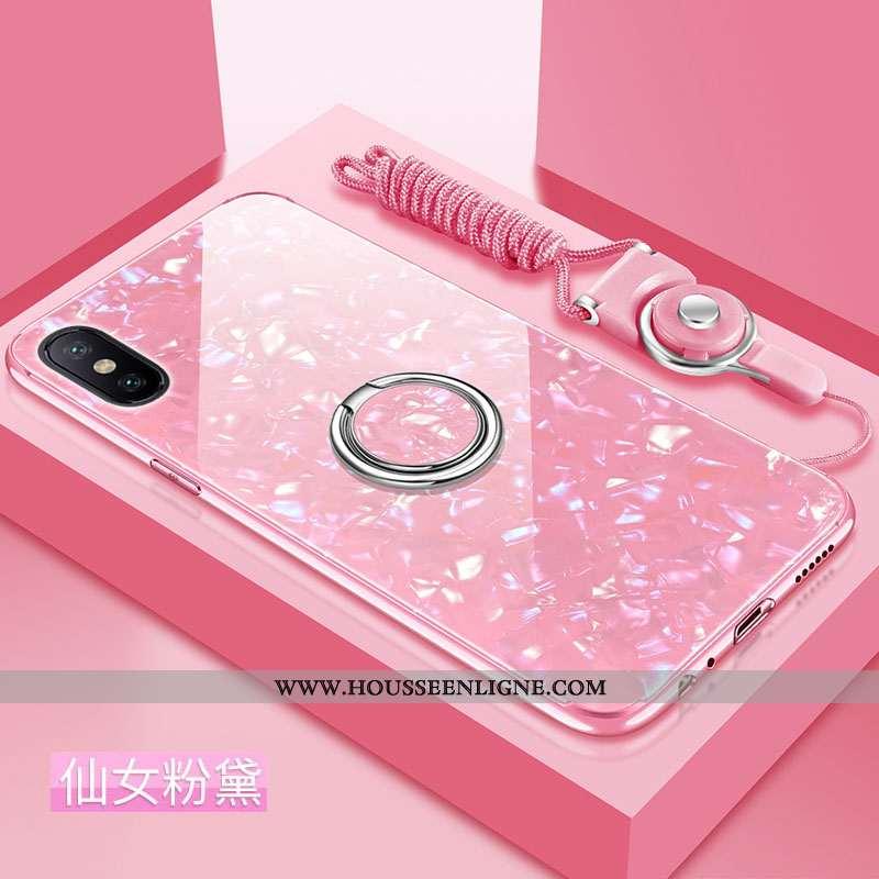 Housse Xiaomi Mi 8 Pro Modèle Fleurie Fluide Doux Difficile Étui Incassable Silicone Tendance Rose