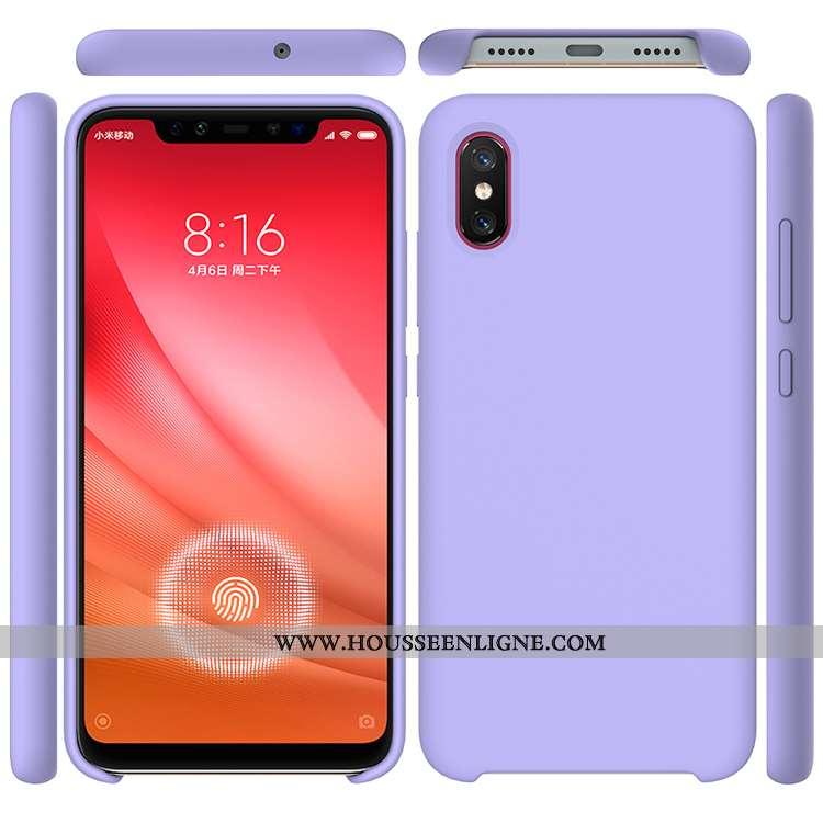 Housse Xiaomi Mi 8 Pro Modèle Fleurie Silicone Téléphone Portable Violet Couleur Unie Simple Petit