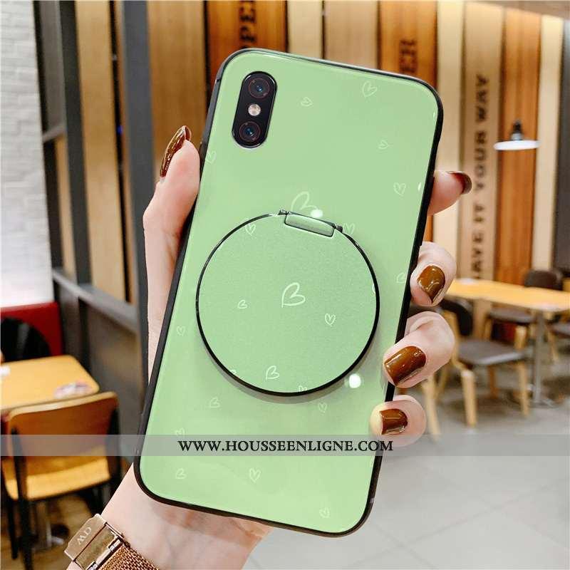 Housse Xiaomi Mi 8 Pro Tendance Modèle Fleurie Étui Support Téléphone Portable Miroir Vert Verte