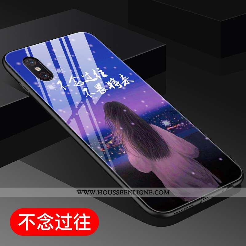 Housse Xiaomi Mi 8 Pro Verre Personnalité Style Chinois Modèle Fleurie Difficile Coque Incassable Bl