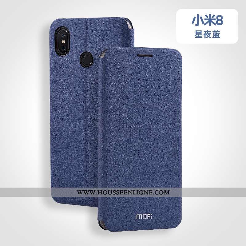 Housse Xiaomi Mi 8 Silicone Protection Fluide Doux Personnalisé Incassable Cuir Clamshell Bleu
