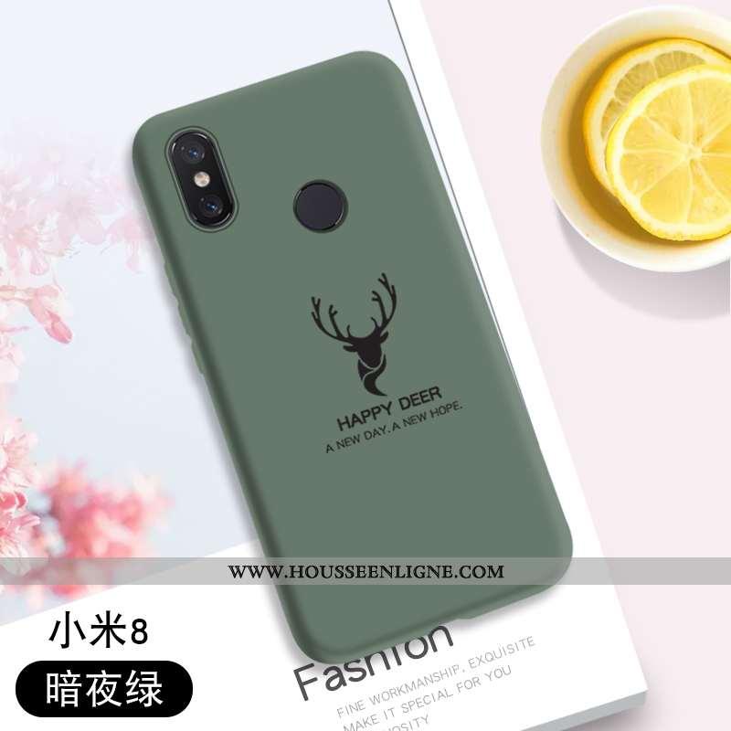 Housse Xiaomi Mi 8 Tendance Modèle Fleurie Créatif Vert Coque Fluide Doux Protection Verte