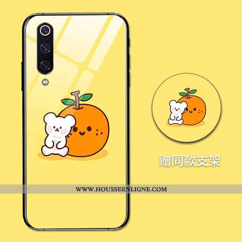 Housse Xiaomi Mi 9 Créatif Dessin Animé Amoureux Net Rouge Tout Compris Miroir Difficile Jaune