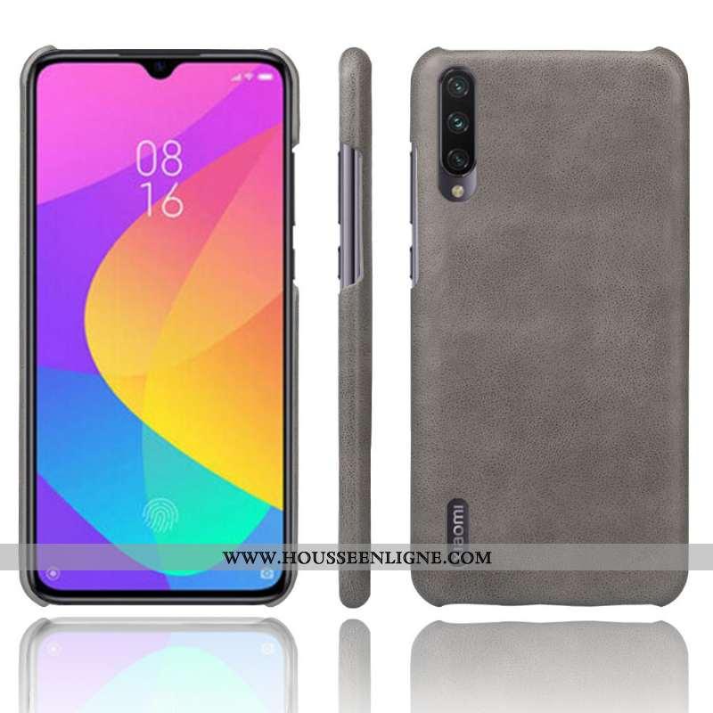 Housse Xiaomi Mi 9 Lite Délavé En Daim Cuir Petit Imperméable Téléphone Portable Gris Résistant À L'